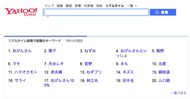 Yahoo_リアルタイム検索_Twitter(ツイッター)、Facebookをログインなしで同時に検索!