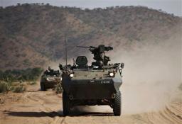 Irish troops on patrol near the eastern Chadian town of Goz-Beida in Chad
