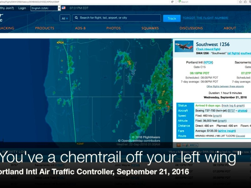 """""""You've a chemtrail off your left wing"""" – air traffic controller"""
