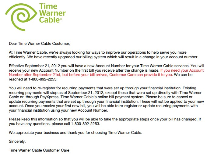 Your Time Warner Cable Bill May Be Past Due; New Account Numbers