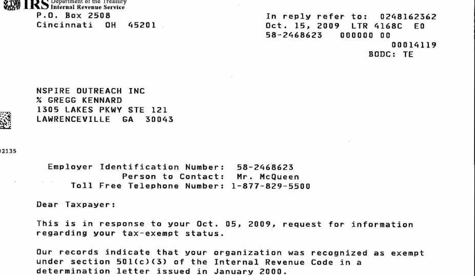 Irs Letter - Donations - NSPIRE Outreach Organization