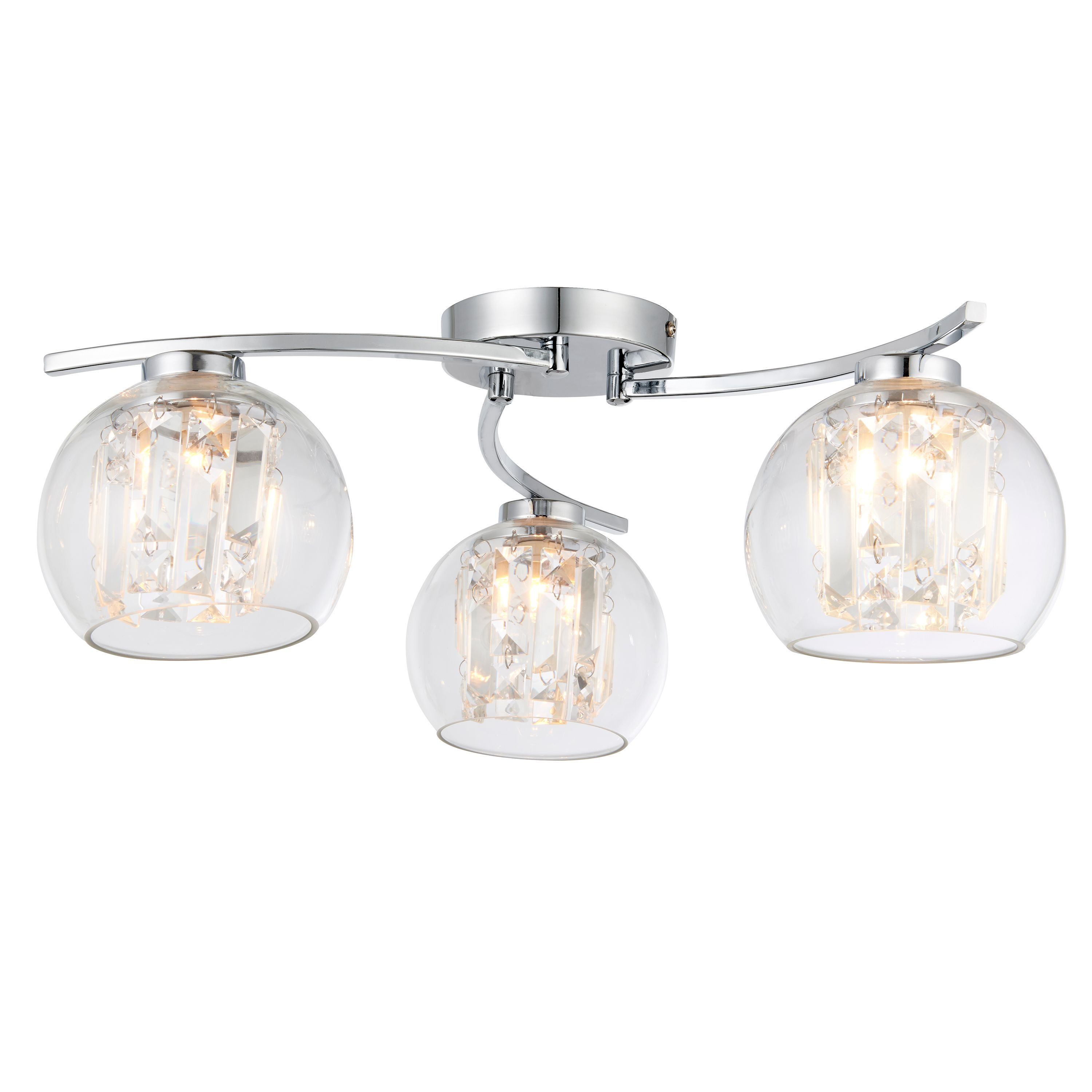 Glass Lamp Ceiling Chico Glass Sphere Chrome Effect 3 Lamp Ceiling Light