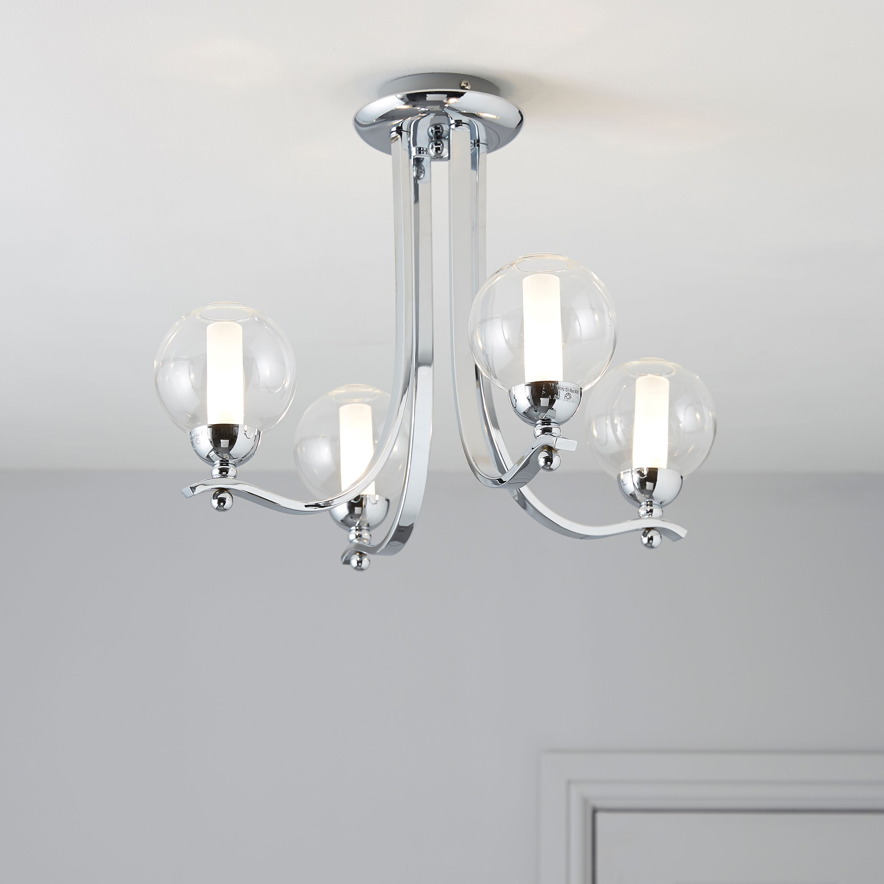 Glass Lamp Ceiling Giselle Glass Ball Chrome Effect 4 Lamp Ceiling Light