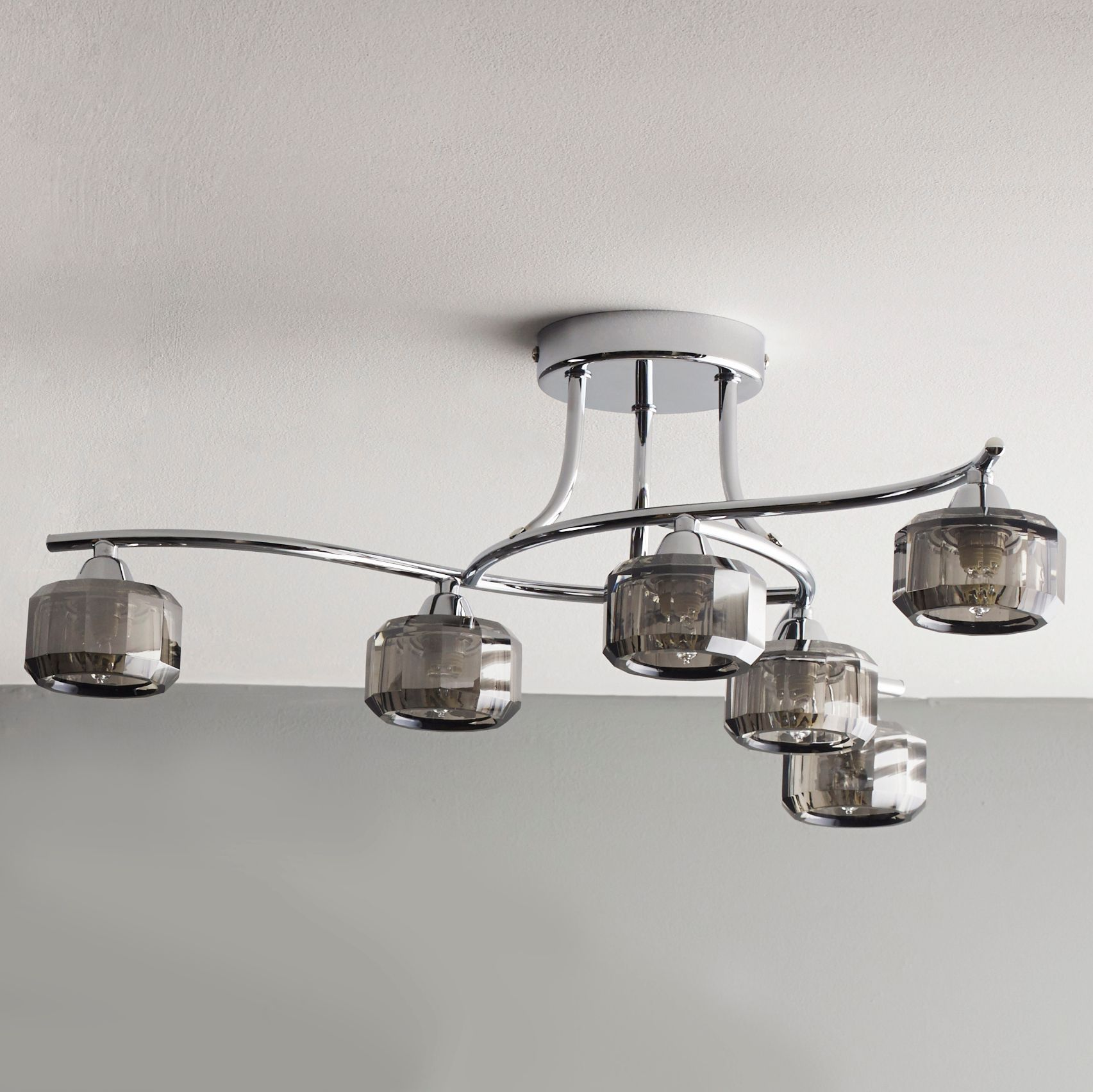Glass Lamp Ceiling Allyn Clear Chrome Smoked Glass 6 Lamp Ceiling Light