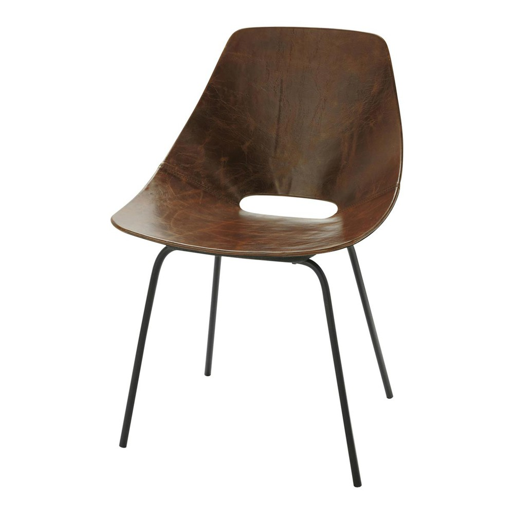 Chaises Cuir Marron Archi Material