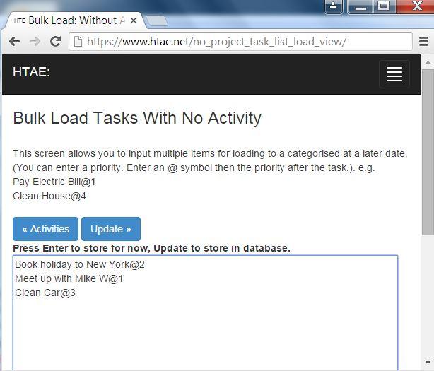 Bulk load of tasks into online task list