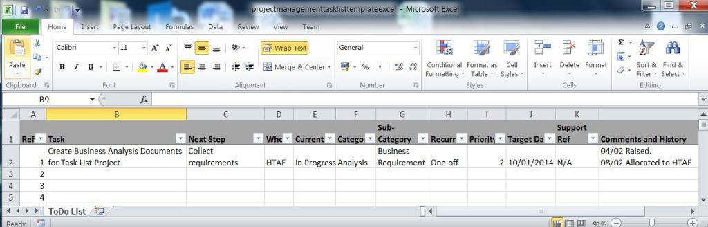 Create A Task List Spreadsheet In Excel