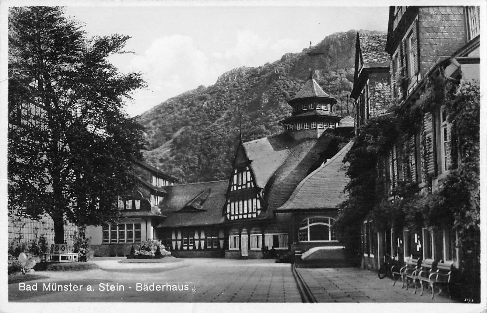 Bad Stein Bg37320 Bad Munster A Stein Baderhaus Real Photo Germany Hippostcard
