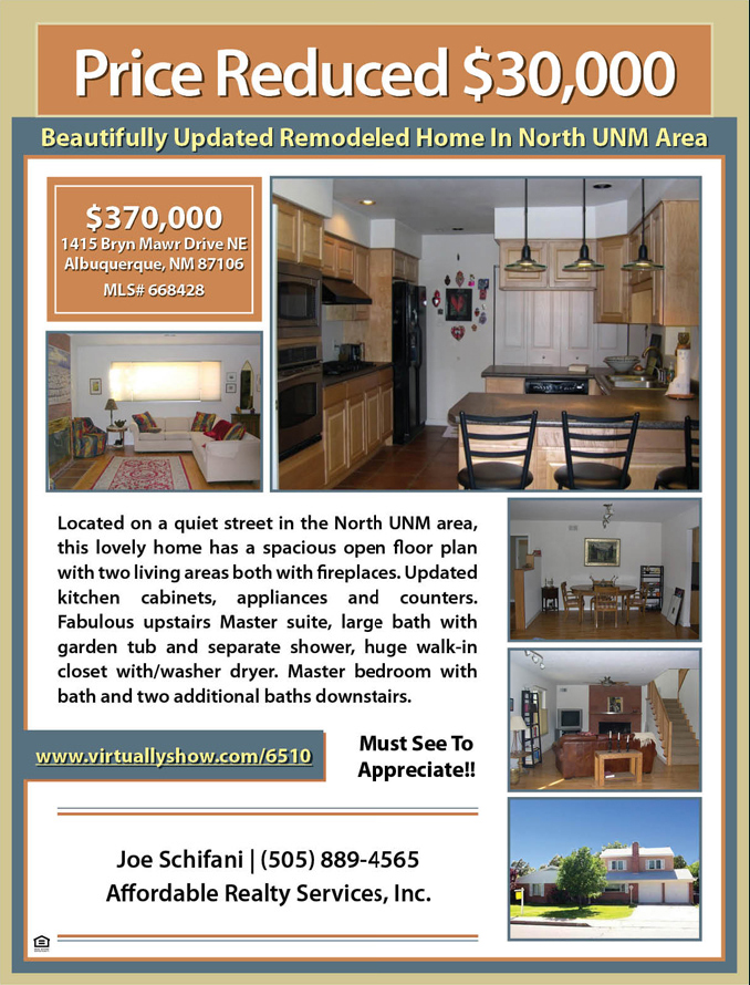 SAMPLE PROPERTY FLYER Flat Fee MLS Listing Albuquerque New Mexico - home for sale brochure