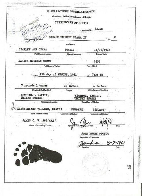 Malik Obama Tweets Alleged Barack Obama Birth Certificate in Kenya - birth certificate