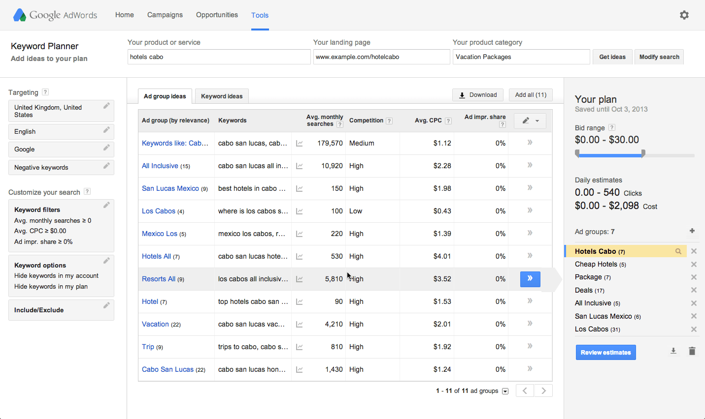Google Adwords Keyword Using Keyword Planner To Get Keyword Ideas And Traffic