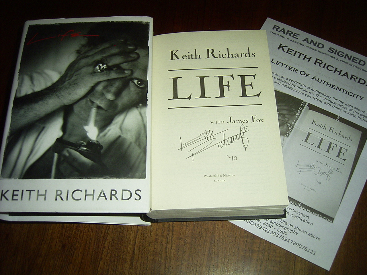 Libro De Keith Richards Keith Richards Signed