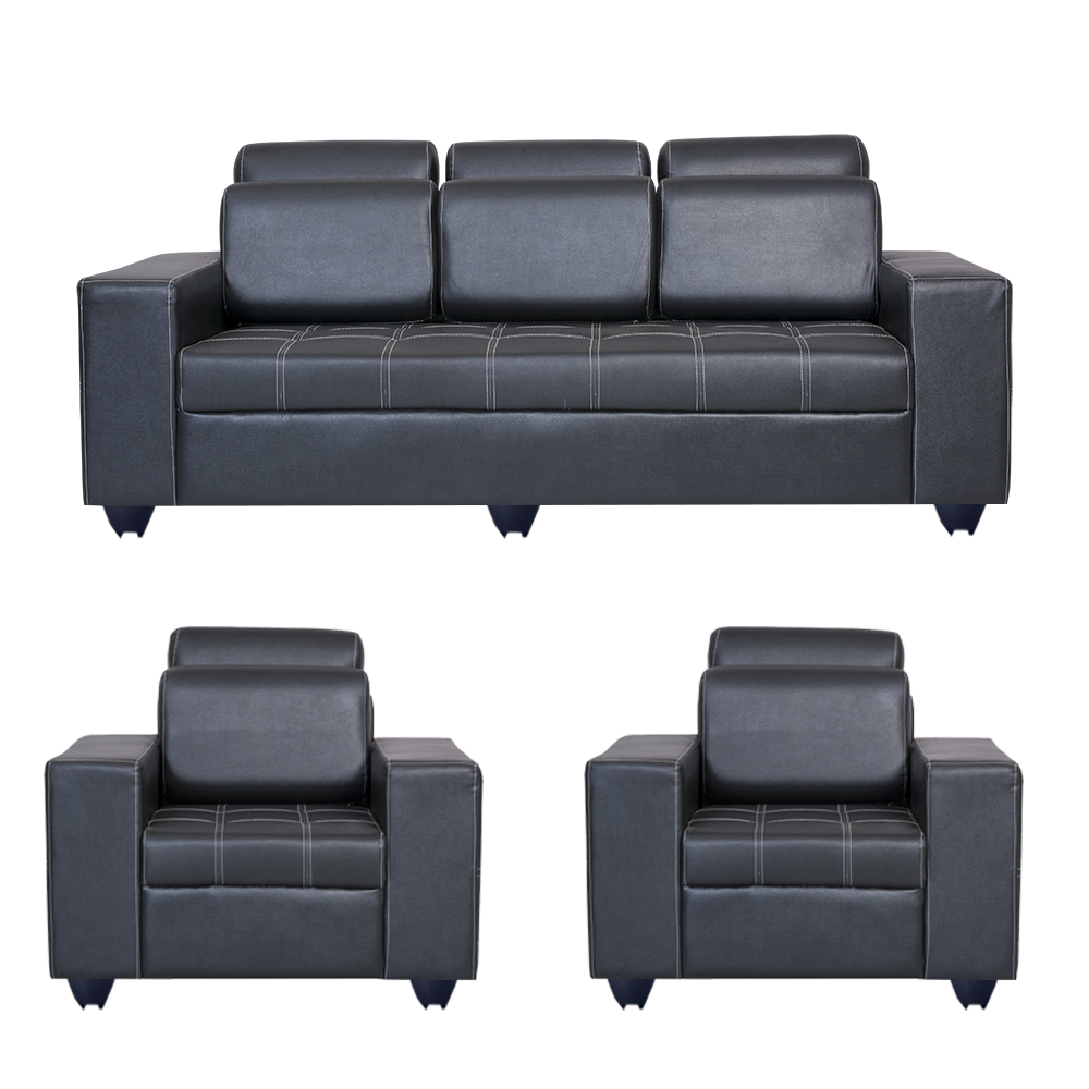 Bharat Lifestyle Orchid Leatherette 3 1 1 Black Sofa Set Online Price In India Buybharat Lifest