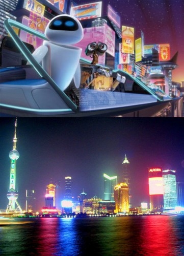"""The neon signs dominating the latter half of """"Wall-E"""" look a great deal like the neon lights of Shanghai"""