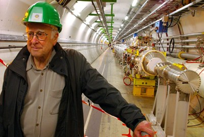 Peter Higgs at the LHC tunnel