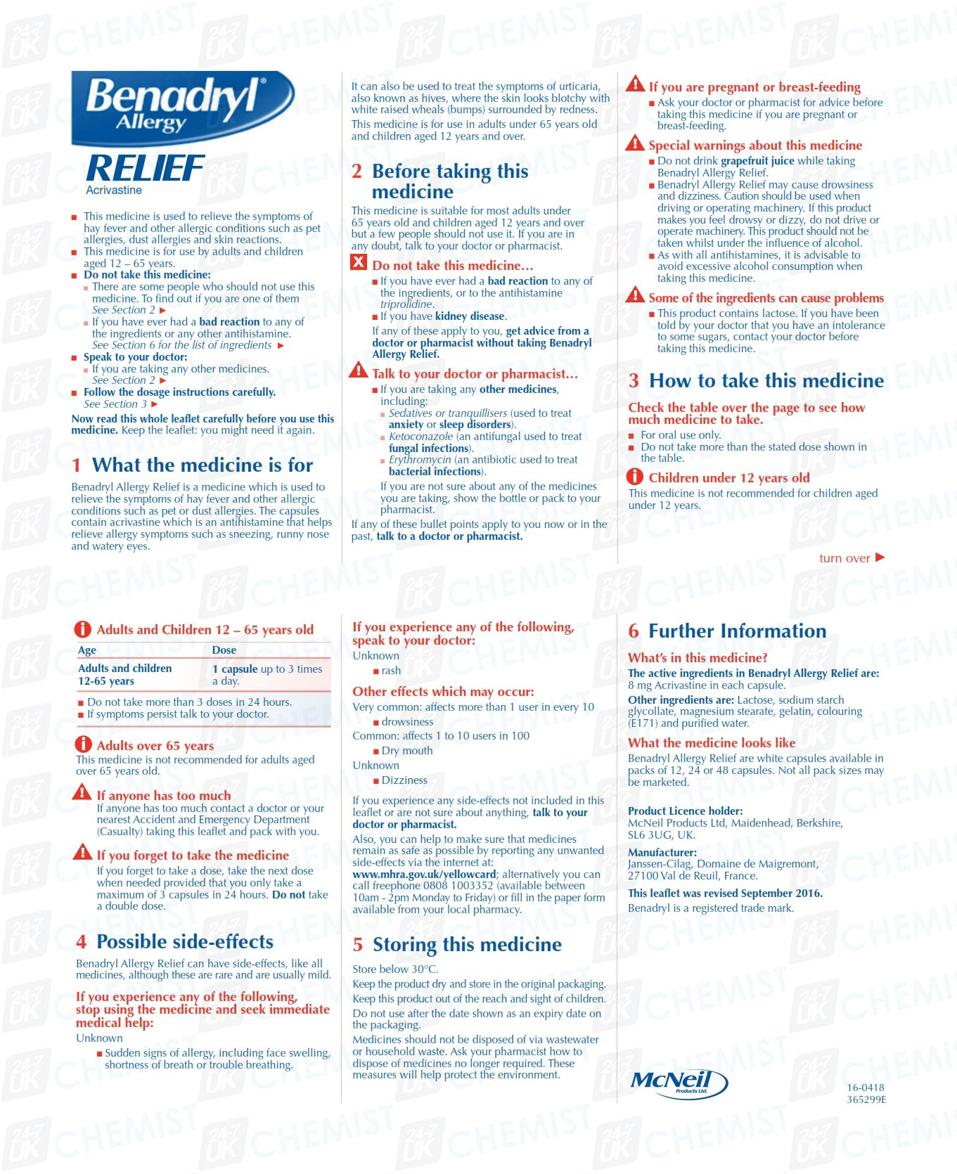 Lovable Patient Information Leaflet Benadryl Allergy Relief