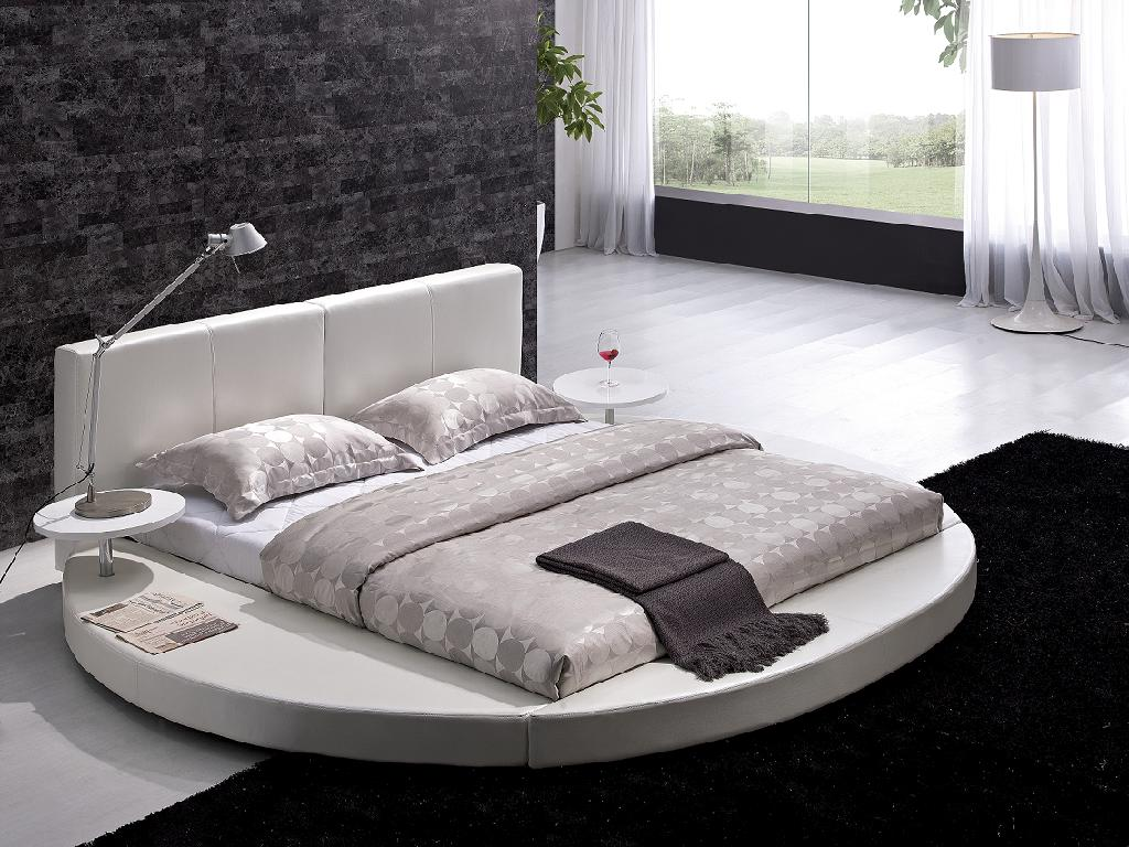 Rundes Bett Contemporary White Leather Headboard Round Bed - Queen