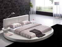 Contemporary White Leather Headboard Round Bed - Queen ...