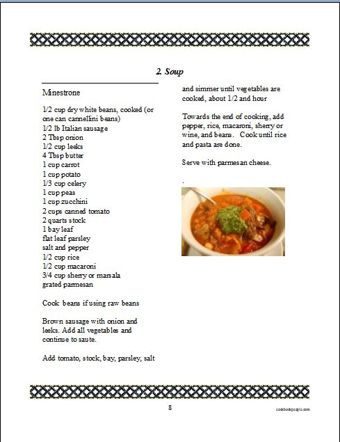 Cookbook Software for Making and Printing a Family Recipe Book