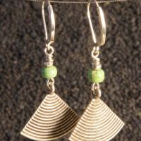 Fan earrings with hill tribe silver and gaspeite