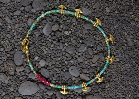 Anchor Anklet w/ Turquoise & Brass Anchors.