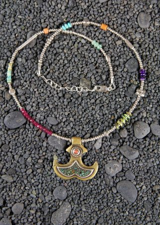 Brass Anchor Pendant Inlaid w/ Coral & Turquoise