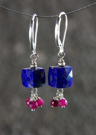 Lapis Cube Earrings with Rubies