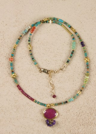Turquoise Gold Necklace with Ruby and Sugilite Pendant