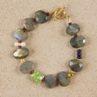 Labradorite Oval Bracelet in Gold
