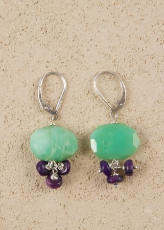 Chrysoprase Oval earrings with 3 sugilite dangles in silver