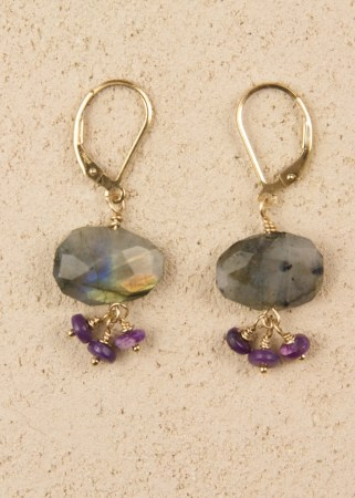 Labradorite Oval Earrings with 3 Sugilite