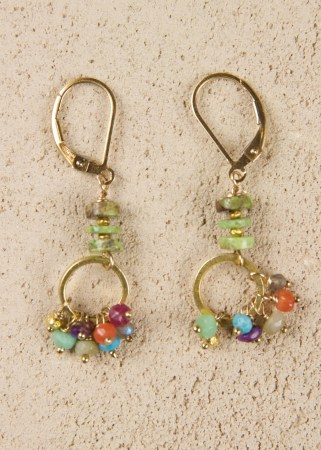Jill's Earrings with 3 Gaspeite Beads in Gold