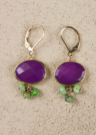 Purple Turquoise Earrings with Green Gaspeite