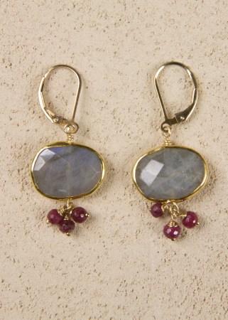 Labradorite Bezel Earrings with 3 Rubies