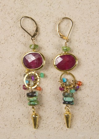 Gaspeite Ruby Multi Turquoise Dart Earrings
