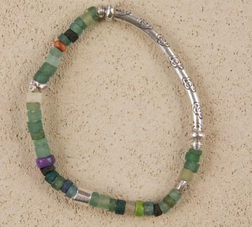 Roman Glass Silver Stretch Bracelet