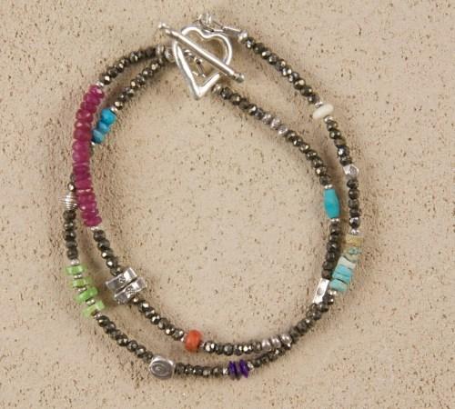 Double Heart Bracelet in Pyrite Silver