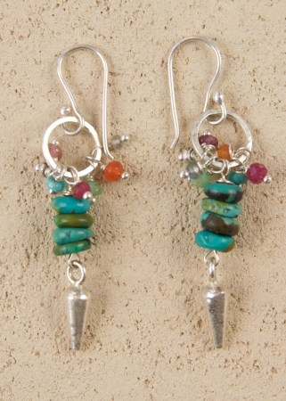 Jill's Earrings with Turquoise and a Silver Dart