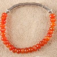 Carnelian Silver Stretch Bracelet
