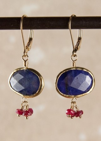 Sapphire and Ruby Earrings