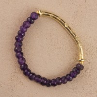 Amethyst Purple Gold Stretch Bracelet