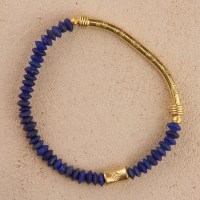 Lapis Gold Stretch Bracelet with Scroll