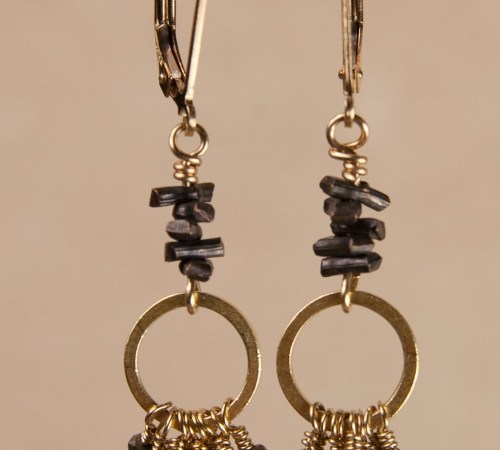 Jill's Gold Earrings in Pyrite with Stacked Pyrite on Top