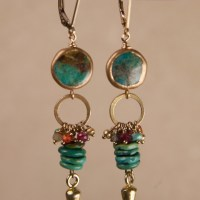 Round Turquoise Multi Turquoise Dart Earrings