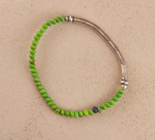 Green Turquoise Silver Stretch Bracelet with One rouge Purple Turquoise