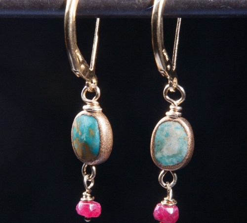 Turquoise Oval with Ruby Dangle
