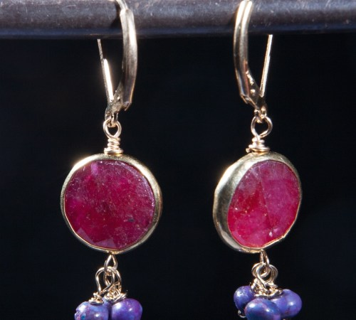 Round Ruby Earrings with 3 Purple Turquoise Gold