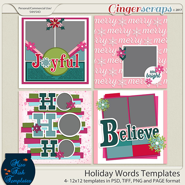 GingerScraps  Templates  Holiday Words Templates by Miss Fish