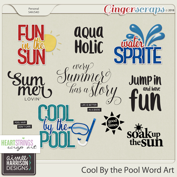 GingerScraps  Word Art  Cool By the Pool Word Art by Aimee