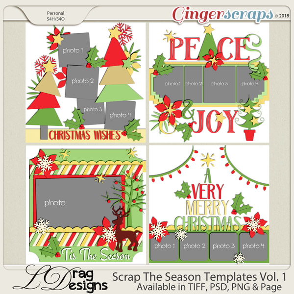 GingerScraps  Templates  One Page Templates  Scrap The Season